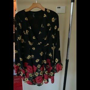 Black floral dress.
